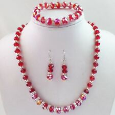 W5454 Beautiful Red Crystal Faceted Beads Bracelet Necklace Earrings Set