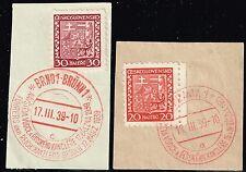 Czechoslovakia - 1939 Hitler's First Visit Postmarks - Lot 110815