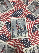Heroes USA 2001 Patriotic 9/11 Stamp Flag Cranston  Cotton Fabric Quilt Sew BTY