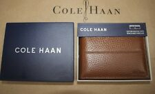 NIB COLE HAAN Cognac 100% Pebbled Leather Removable ID Passcase Double Billfold