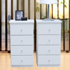 Bedrooms  New 2 Slim Bed side Tables/White 4 drawers, 79cm H Wardrobe insert