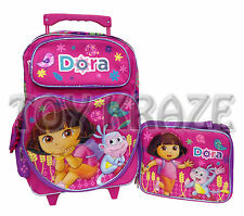 DORA THE EXPLORER ROLLING BACKPACK & LUNCH BOX SET! PINK HEART WHEAT ROLLER BAG