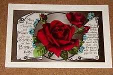 Vintage Postcard: Birthday Wishes for Sister, Flowers, Red Roses, Rotary Photo