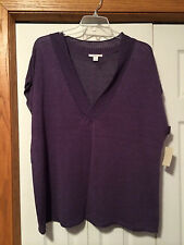 NWT $74 2X Coldwater Creek Linen Rayon Pullover Purple Short Sleeve Sweater