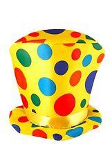 Costume Arcobaleno A Macchie Clown Alto Cappello Misura Adulto Circo Accessorio
