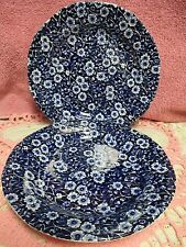Staffordshire Calico Blue Burleigh Salad Plates Set of 2   8 1/2 inches