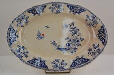 1- GIEN Modèle Delft Grand Plat Bleue Faïence French Plate Blue Hollande Ovale