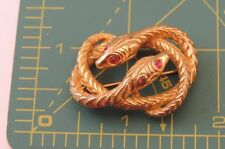 Vintage CASTLECLIFF 2 Snake Intertwined Rhinestone Gold tone Brooch MINT 8a 11