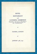 "1952 OFFICIAL LUNCH MENU - HOTEL & CATERING EXHIBITION AT OLYMPIA - ""HOTELYMPIA"""