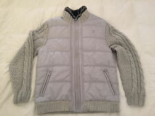 Authentic Buffalo David Bitton Woto Mixed Media Jacket Sweater Sleeve Fur Grey L