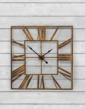Large Distressed Gold Metal Vintage Style Square Skeleton Wall Clock