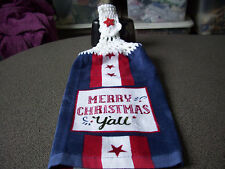 Merry Christmas Y'all  Stars  Crochet Hanging Top Kitchen Towel