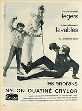 PUBLICITE ADVERTISING 024   1960   CRYLOR   anorak vetements de ski