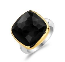 New Genuine Ti Sento Silver/gold plated Black CZ set ring 1966BY Size 54/N £115
