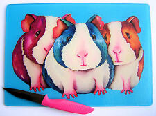 Unique Blue Glass Chopping Board with a GUINEA PIG  design by artist Maria Moss