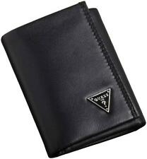 NEW GUESS CRUZ BLACK LEATHER PASSCASE CREDIT CARD TRIFOLD ID MEN'S WALLET