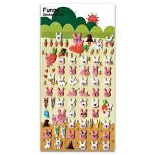 CUTE BUNNY STICKERS Sheet Rabbit Animal Kid Puffy Vinyl Craft Scrapbook Kawaii