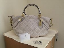 NWT COACH F22861 PARCHMENT MADISON WOVEN LEATHER SOPHIA SATCHEL PURSE