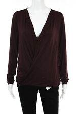 Three Dots Burgundy Red Long Sleeve V Neck Stretch Knit Top Size Large