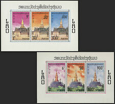 LAOS Blocs N°50/51** Bf Monuments historiques,temples, 1976 LAOS 2 sheets MNH