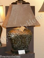 Large ANTIQUE PITTED BRONZE Table Lamp Brown Metallic Masculine NEIMAN MARCUS