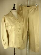 womens 14 DKNY metallic gold 2-pc leather pants suit western snap shirt jacket