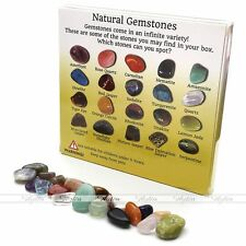 20pcs Crystal Gemstone Reiki Polished Healing Chakra Stone Collection Set Box