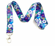 Blue Hawaiian Print Lanyard Key Chain Id Badge Holder