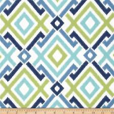 Drapery Upholstery Fabric 100% Cotton Screen Printed Diamond Ikat - Blue Multi