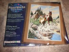 ! Vtg New PaintWorks Paint By Number Kit RUNNING HORSES 16 x 20 Picture SEALED