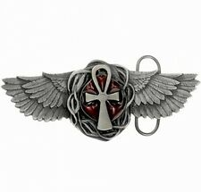 3D Buckle Egyptian Sign Anch, Ankh, with wings, Belt Buckle