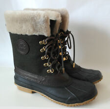 New Boxed Tory Burch Jada Shearling rain rubber Flannel calf boots UK 5.5 US 8