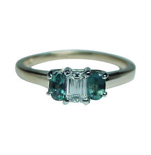 Vintage Diamond Natural Alexandrite 3 stone Ring  14K Gold Platinum Estate