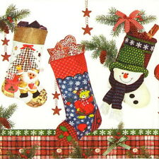 4x Single Party Paper Napkins for Decoupage Decopatch Craft  Christmas Stocking