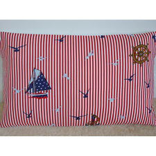 "NEW 20""x12"" Oblong Bolster Cushion Cover Red White Blue Boats Birds Nautical"