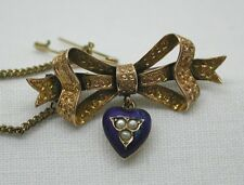 Fabulous Victorian 9ct Gold Bow Shaped brooch With Enamel & Pearl Heart Dropper