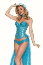 Starline Vegas Sequin Show Girl Bird Turquoise Feathers Sexy Womens Costume L 12