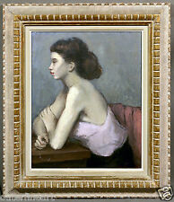 """Beautiful Decorative Painting of a Woman's Profile signed """"Jeanne Fenton"""""""