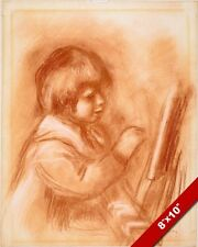 "RENOIR'S SON CLAUDE ""COCO"" RED CHALK PAINTING ART REAL CANVAS GICLEE PRINT"
