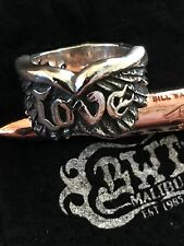 BILL WALL BWL LEATHER WINGS LOVE RING SIZE 9 WEIGHS 20 GRAMS .925 STERLING