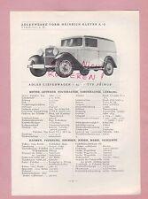 FRANKFURT/M., Typentafel 1934, Adler-Werke Lieferwagen LKW Typ Primus, L4-3/4t