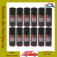 12 x 200ml Black Satin Alloy Wheel Spray Can Restorer Car Bike Auto Spray Paint