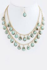D9 Sunstone Natural Mint Green Aqua Gold Necklace Earrings Set Boutique