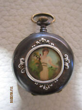 MONTRE A GOUSSET ANCIENNE DECOR MINIATURE FEMME / ANTIQUE PAINT VICTORIAN WATCH