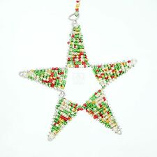 Red/ Green Africa Handmade Maasai Bead Wire Christmas Star Ornament