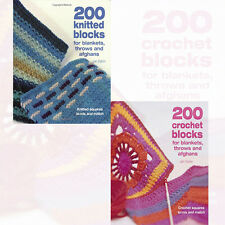 Jan Eaton2 Books Collection Set Pack (200 Crochet Blocks & 200 knitted blocks)