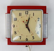 Vtg TELECHRON Mid Century Modern Red Electric Wall Clock Model 2443 Retro Works