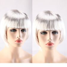 Wigs Lady BOB Short Full Head Wigs Cosplay Costume Party Fancy Dress White Color