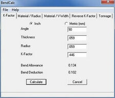 Sheet Metal Bend Deduction and Allowance, K-Factor, Tonnage Calculator