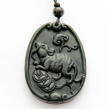 Black Green Jade Gemstone Happy Lucky Chinese Zodiac Rat Money Amulet Pendant